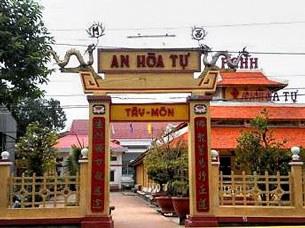 Cổng vào ngôi chùa Phật giáo Hòa Hảo An Hòa Tự ở An Giang. (Ảnh minh họa)