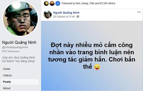 Trang fanpgage Người Quảng Ninh đăng tải về các mỏ than ở Quảng Ninh cấm công nhân bình luận trên mạng xã hội.