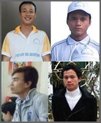 Bốn tín đồ Công Giáo GB. Hoàng Phong(trên, bên trái), Anton Ðậu Văn Dương (trên, phải), Anton Chu Mạnh Sơn (dưới, trái) và Phero Trần Hữu Đức.