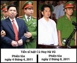 Tiến sĩ luật Cù Huy Hà Vũ ở hai phiên tòa.  AFP