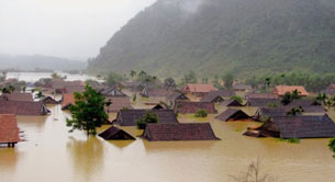 Trận lũ lụt ở Tân Hoa, Quảng Bình hồi tháng 9 vừa qua. AFP