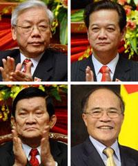 Các ông Nguyễn Phú Trọng, Nguyễn Tấn Dũng, Trương Tấn Sang, Nguyễn Sinh Hùng (từ trái qua phải từ trên xuống). Ảnh AFP.