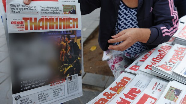 Một sạp bán báo ở Hà Nội, ảnh minh họa chụp trước đây. AFP.
