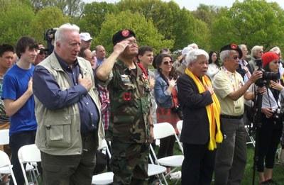 Các cựu binh tham dự Lễ tưởng nhớ những chiến binh hy sinh ở chiến trường Việt Nam ở thủ đô Washington DC hôm 30/4/2015. RFA PHOTO.