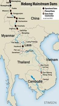 Các con đập trên sông Mekong vào tháng 7/2019.
