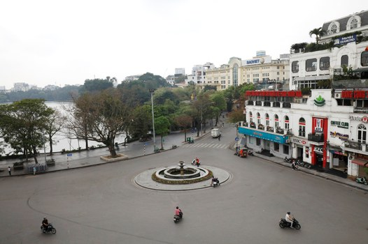Quảng trường Đông Kinh Nghĩa Thục tại Hà Nội ngày 27 tháng 3 năm 2020.
