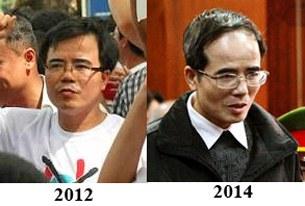 Luật sư Lê Quốc Quân năm 2012 trước khi bị bắt và luật sư Lê Quốc Quân tại phiên phúc thẩm hôm 18/2/2014 tại Hà Nội.