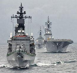 Tàu hải quân Nhật Bản ngoài khơi Sagami Bay, gần Tokyo, Nhật Bản ngày 14 tháng 10 năm 2012.AFP