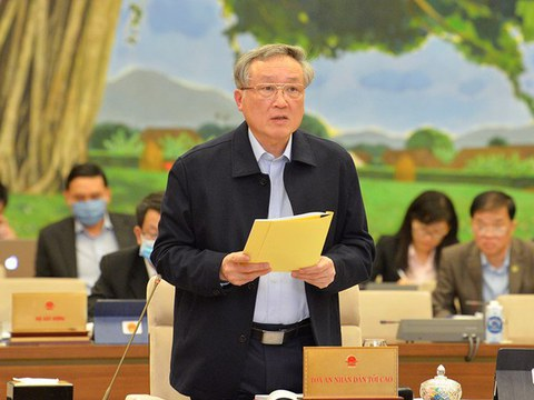 Chánh án Tòa án Nhân dân Tối cao Nguyễn Hòa Bình báo cáo về công tác của các Toà án trong nhiệm kỳ Quốc hội khoá XIV, vào ngày 12/1/2021.