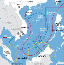 Bản đồ khu vực hình lưỡi bò mà Trung Quốc công bố chủ quyền trên biển Đông. AFP