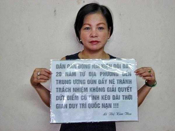 Chị Lê Thị Kim Thu chụp trước ngày bị bắt năm 2008