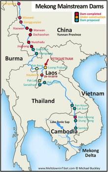 """Luang Prabang sẽ là con đập dòng chính thứ 5 trên sông Mekong lớn nhất của Lào và điều rất nghịch lý: do công ty quốc doanh PetroVietnam Power Corporation là chủ đầu tư.  Xayaburi, con Domino thứ nhất, con đập dòng chính đầu tiên của Lào, bắt đầu vận hành từ ngày 29.10.2019 trên một khúc sông đang  thiếu nước và cạn kiệt. Với 11 con đập dòng chính trên sông Lancang-Mekong thượng nguồn, Trung Quốc đã lưu trữ 42 tỷ mét khối nước, chiếm giữ trong các hồ chứa hơn 50% lượng phù sa, sản xuất 21300 MW điện; riêng Lào cũng lưu trữ 33 tỷ mét khối nước hàng năm và đang thực hiện giấc mơ trở thành """"Bình điện Đông Nam Á / S.E. Asia's Battery"""" bất chấp hậu quả môi sinh xuyên biên giới với hai quốc gia hạ nguồn là Cambodia và Việt Nam."""