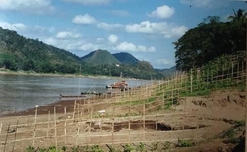 Khu vực dự kiến xây đập Luang Prabang 1410 MW trên dòng chính sông Mekong, phía bắc con đập Xayaburi, chỉ cách thị trấn Luang Prabang 25 km; hình chụp khúc sông Mekong chảy qua địa phận cố đô Luang Prabang, đã được UNESCO công nhận là Khu Di sản Thế giới / World Heritage Site từ 1995, vốn được ca ngợi như một trong những thành phố cổ đẹp nhất Đông Nam Á thì nay Luang Prabang đang bị thương mại hóa và cả Hán hóa. Canh tác ven sông với nguồn phù sa sông Mekong là một phần nông nghiệp gia đình truyền thống của người dân Lào.