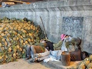 Những người dân lao động tự do ở gầm cầu Long Biên tranh thủ nghỉ ngơi lấy sức, với họ Tết có cũng như không