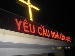 Bảng điện trên nóc tu viện giáo xứ Thái Hà. Photo: JB Nguyen Huu Vinh