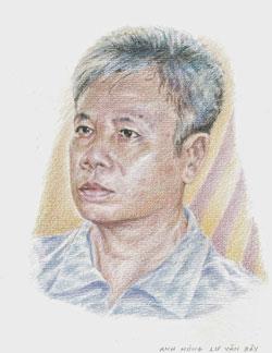 Chân dung tù nhân lương tâm Lư Văn Bảy qua nét vẽ của hoạ sĩ Trần Lân - Paris. Courtesy Hoạ sĩ Trần Lân.