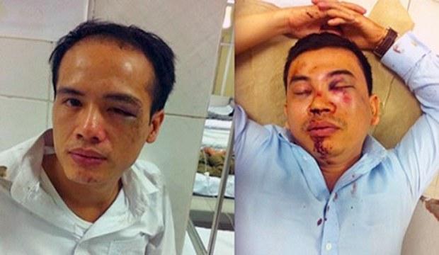 Luật sư Lê Văn Luân (trái) và LS Trần Thu Nam bị đánh rất dã man