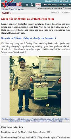 Bài báo về thân thế và sự nghiệp của ông Lê Phước Hoài Bảo trên VietnamNet.