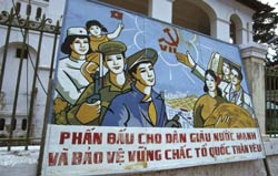 Tấm bảng tuyên truyền chính sách của ĐCSVN chụp tại TPHCM hôm 29/9/2011. AFP