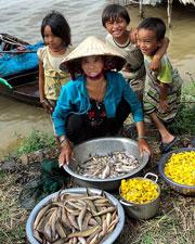 Ruộng lúa bị mất trắng, những đứa con của chị Trần Thị Nở ở ấp Thống Nhất 1, xã Tân Công Chí (Đồng Tháp) cùng mẹ bán cá và bông điên điển bên Quốc lộ 30.Tienphong Online