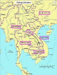 Bản đồ sáu nước tiểu vùng sông Mekong mở rộng.