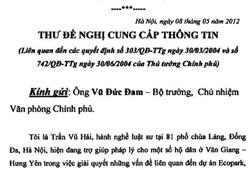 Thư đề nghị cung cấp thông tin của LS Trần Vũ Hải/Liên quan đến các quyết định số 303/QĐ-TTg ngày 30/3/2004 và số 742/QĐ-TTg ngày 30/6/2004 của Thủ tướng Chính phủ (blog NXDien)