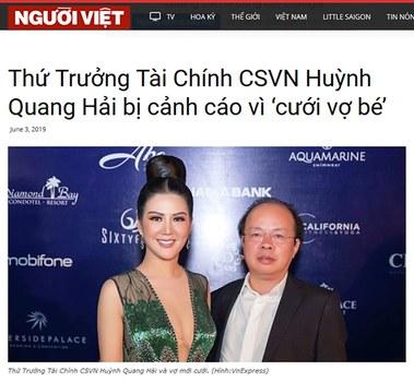 Thủ tướng Nguyễn Xuân Phúc vào ngày 26/07/19 ký quyết định kỷ luật cảnh cáo Thứ trưởng Bộ Tài chính Huỳnh Quang Hải.