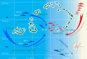 Sơ đồ trận hải chiến Hoàng Sa 1974 giữa VNCH-Trung Quốc.