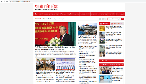 Trang mạng Báo Người Tiêu Dùng.
