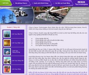 Website bằng tiếng Việt của Nexus Technologies