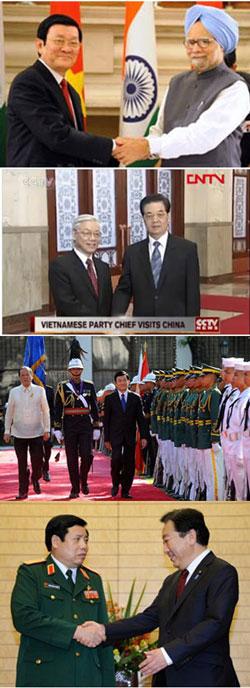 Trên xuống: CT Trương Tấn Sang thăm Ấn Độ-TBT Nguyễn Phú Trọng thăm Trung Quốc-CT Trương Tấn Sang thăm Philippines-Tướng Phùng Quang Thanh thăm Nhật