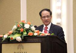 Tổng Thư ký ASEAN Lê Lương Minh phát biểu tại Hội thảo về Biển Đông ở Phnom Penh ngày 20 tháng 9 năm 2013. RFA PHOTO/Quốc Việt
