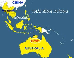 Vị trí căn cứ Darwin ở Australia. RFA graphic-map Australia Gov.
