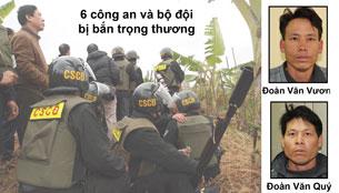 Lực lượng cưỡng chế thu hồi đất nhà anh Vươn hôm 05/1/2012