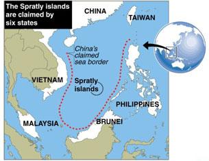 Bản đồ hình lưỡi bò Trung Quốc công bố chủ quyền trên biển Đông.
