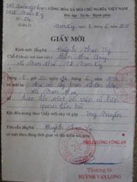 Giấy mời do thượng tá công an Huỳnh Văn Long, phó công an huyện Tam Kỳ ký tên. Photo courtesy of Dân Làm Báo.