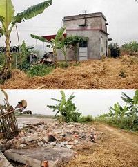 Nhà ông Đoàn Văn Vươn không nằm trong diện tích cưỡng chế nhưng vẫn bị phá ủi sập. Source nld.com