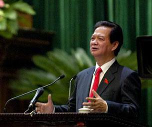Thủ tướng Nguyễn Tấn Dũng tại phiên chất vấn của Quốc hội sáng 25/11. Source chinhphu.vn