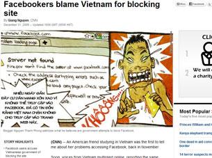 Bài viết trên trang CNN về chuyện Facebook bị ngăn chặn ở Việt Nam.  RFA sreen capture
