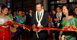Bộ trưởng Thương mại Campuchia Cham Prasidh trước lễ khai mạc Hội chợ triển lãm Trung Quốc-ASEAN lần thứ 9 tại Nam Ninh, Trung Quốc hôm 21/9/2012. AFP photo