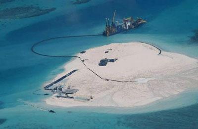 Vùng đảo Gạc Ma nhìn từ trên cao, ảnh minh họa chụp hôm 15/5/2014. AFP