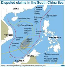 Bản đồ hình lưỡi bò trên biển Đông do Trung Quốc đơn phương công bố. AFP photo.
