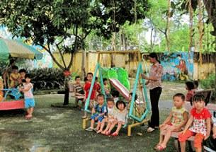 Các cháu Trường Mầm non thị trấn Bút Sơn, Hoằng Hóa, Thanh Hóa trong giờ chơi. (ảnh minh họa)