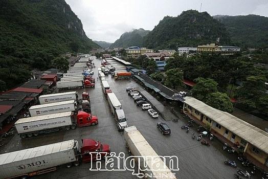 Hơn 200 xe chở thanh long bị ùn ứ tại tại cửa khẩu Tân Thanh, Lạng Sơn. Ảnh chụp ngày 04/02/2020.