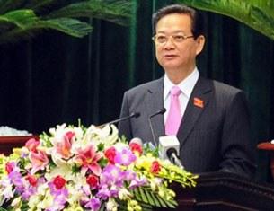 Thủ tướng Nguyễn Tấn Dũng báo cáo trước Quốc hội hôm 22/10/2012 tại Hà Nội.