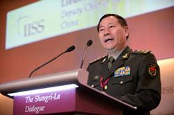 Trung Tướng Thích Kiến Quốc, Phó Tổng Tham Mưu Trưởng Quân Đội Nhân Dân Trung Quốc phát biểu tại Đối thoại Shangri-La tại Singapore vào ngày 02 tháng 6 năm 2013. AFP photo