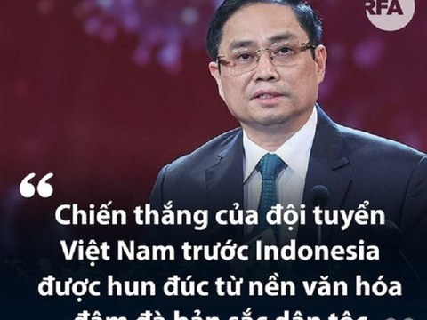 Thủ tướng Việt Nam Phạm Minh Chính khi gửi thư chúc mừng toàn thể Đội tuyển bóng đá nam quốc gia Việt Nam cho rằng kết quả trận đấu Việt Nam - Indonesia 4-0 là 'hun đúc từ nền văn hóa đậm đà bản sắc dân tộc'.