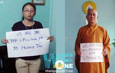 Chị Tạ Minh Tú và Thượng tọa Thích Thiện Minh kêu gọi trả tự do cho blogger Tạ Phong Tần