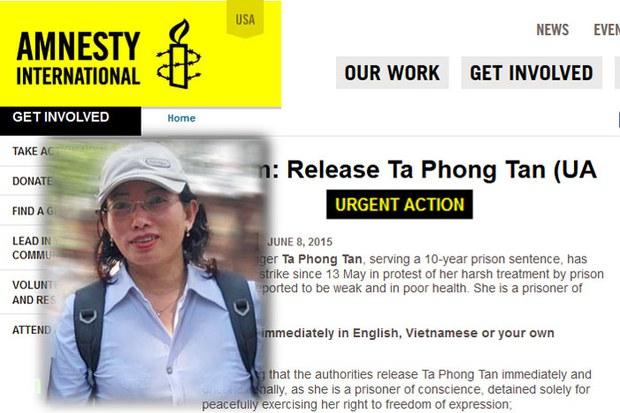 Tổ chức Ân Xá Quốc Tế vào ngày 8 tháng 6 vừa qua phát động cuộc vận động khẩn cấp vì tình trạng của tù nhân lương tâm blogger Tạ Phong Tần, người tuyệt thực kể từ ngày 13 tháng 5