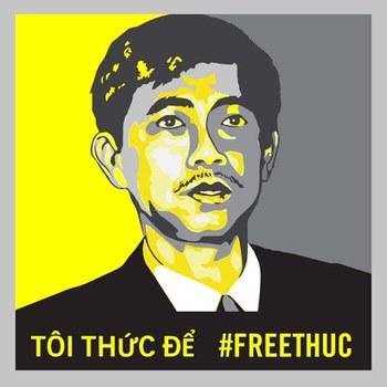 Cư dân mạng đăng tải hình ảnh kêu gọi Việt Nam trả tự do cho tù nhân lương tâm Trần Huỳnh Duy Thức.